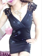 412f005  Sexy lace & viscos blouse, deep V, Free size, fit to s/m/l, blue - $22.95