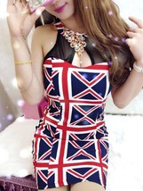 412f0010  Sexy flag printed neck halter dress, Free size, fit to s/m/l,red - $26.35