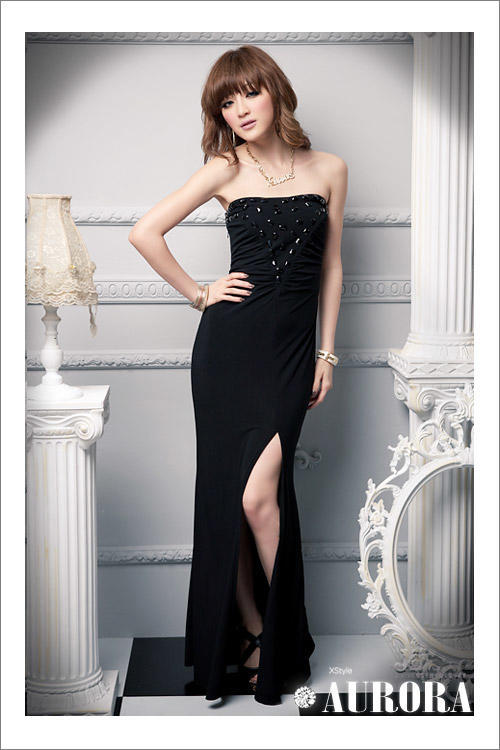 Primary image for 412f006  Sexy long gown with high split, tube bust, Free size, fit to s/m/l, bla