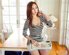 363F038 Sexy lady fashion striped top, long sleeve,Size S,M,L,BLACK/WHITE - $23.00