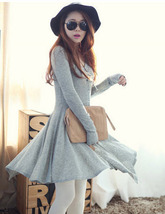 363f063 Sexy cardian dress with flouance hem, fit to size S/m/l,grey - $39.90