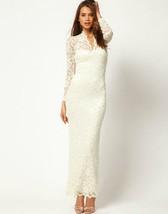 421f001W Sexy lace maxi dress, v collar, fit to S/M/L, White - $49.00