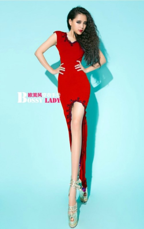 421f010 Sexy asymmatric maxi dress, Free size, fit to S/M, red