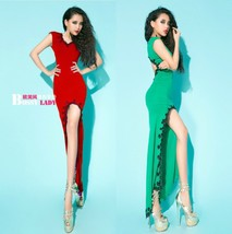 421f010 Sexy asymmatric maxi dress, Free size, fit to S/M, red image 3