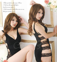 8123 Sexy halter dress with lace sides,free size, fit to s/m/l,black - $23.00