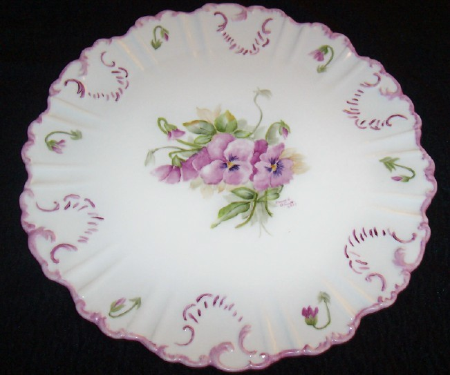 "Elegant Hand Painted Scalloped 14"" Round Platter w/ Lilic Flowers & Leaves/signe"