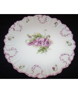 "Elegant Hand Painted Scalloped 14"" Round Platter w/ Lilic Flowers & Leav... - $19.99"