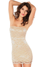 2679 Sexy Romantic floral lace party dress with open shoulder, Free Size, cream- - $46.00