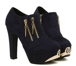 342s246 Sexy high-heeled ankle boots with zippers & gold plate, size 35-39, blac - $52.26