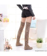 2C3S005 Extra large Foldable suede leathe Knee-high boots, leopard skin print, s - $69.99