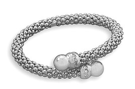 Sterling Silver Rhodium Plated Flex Bangle Cubic Zirconia - $145.14 CAD