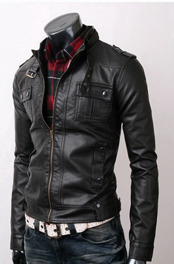 Skinny fit leather jacket
