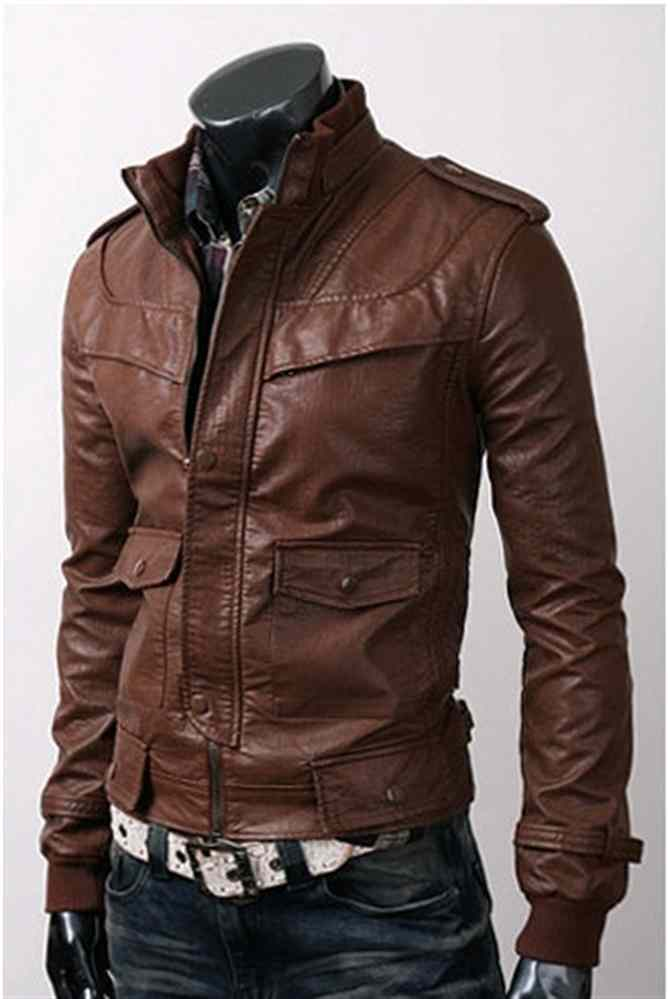 MENS SLIM FIT BROWN LEATHER JACKET, MEN BIKER LEATHER JACKET, MOTORCYCLE JACKET for sale  USA