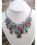 ENAMELED GUNMETAL MULTICOLORED RHINESTONES 18 INCH NECKLACE - $14.01