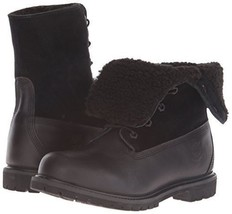 TIMBERLAND Boots Waterproof Fleece Lined Fold Down Cuffed Black Bootie L... - $1.596,81 MXN