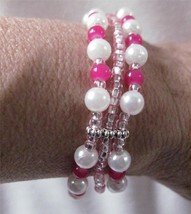 Triple Strung Stretch Bracelet Pink White Silver Accents Scrap Ditty Upc... - $7.14