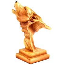 """Faux Wood Pattern Resin American Nature Howling Wolf Bust Small 4"""" Figurine image 2"""
