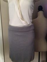 $595 DONNA KARAN collection label stretchy grey cashmere skirt M - $205.40