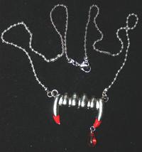 True VAMPIRE FANG BLOOD DROP PENDANT NECKLACE-Banger Bite Gothic Costume... - $12.84