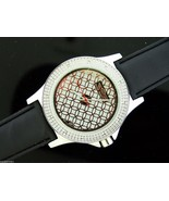 Men's King Master 50mm Round 12 Diamond watch silver tone case black band - $39.59