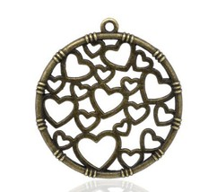 10 Pcs Bronze Tone Jewelry Circle Heart Charms Connectors 35mmx32mm - $4.70