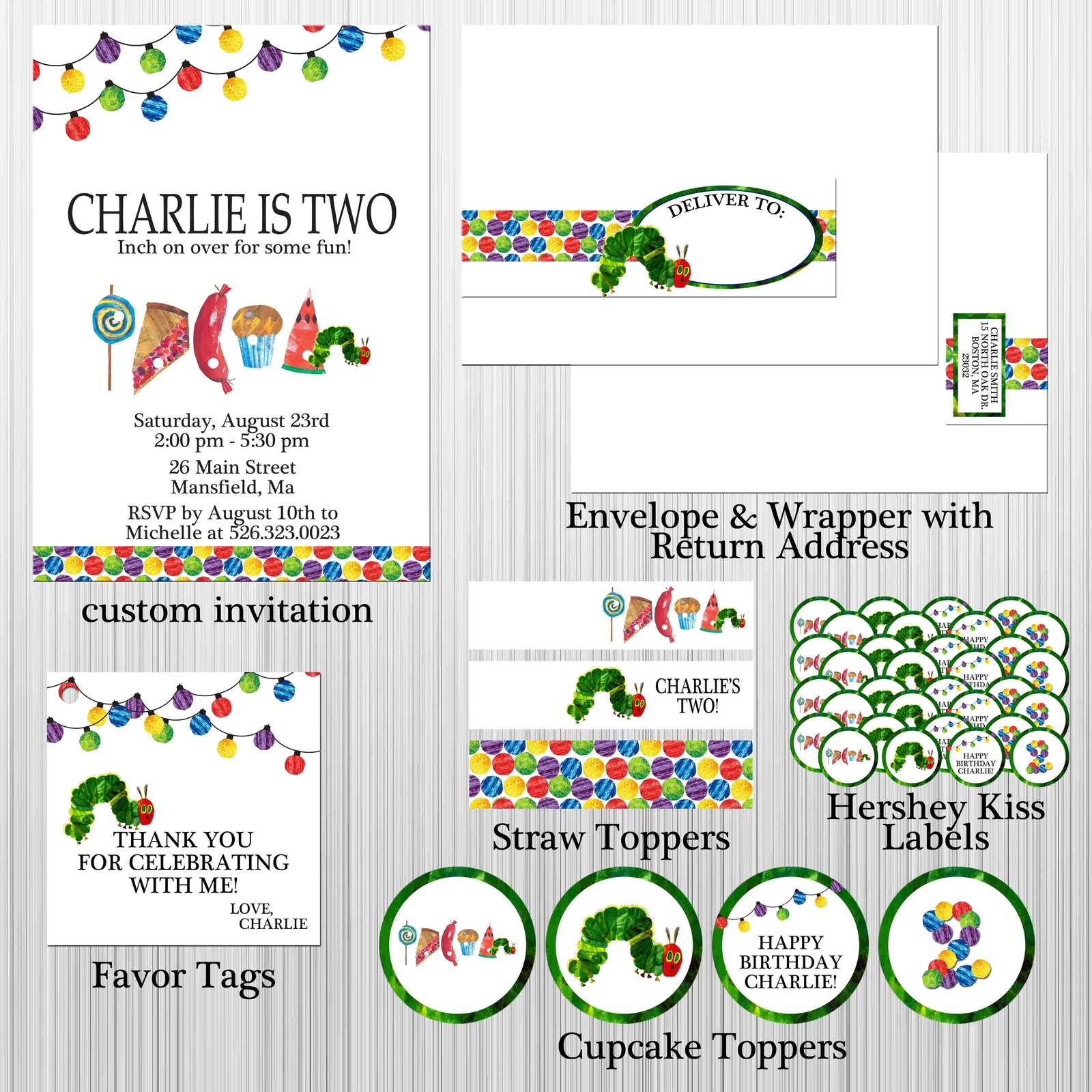 Hungry Caterpillar Birthday, Baby Shower Package: Printable, Invitation, Custom for sale  USA