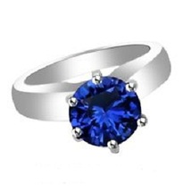 1.05Ct Blue Sapphire 14k White Gold Plated 925 Silver Solitaire Engagement Ring - $56.28