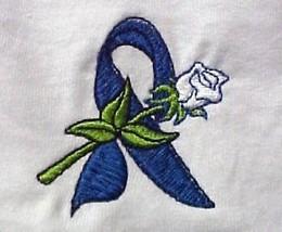Blue Ribbon Sweatshirt Large Cancer Awareness Rose White Crew Neck Unisex New - $25.19