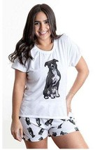 Dog Black Pitbull pajama set with shorts for women - $30.00