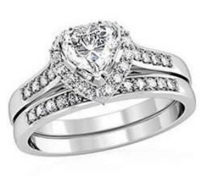 Primary image for Size 8  Clear Heart Shaped CZ Engagement,  Wedding 2 Ring Sets, Size 6