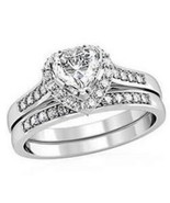 Size 8  Clear Heart Shaped CZ Engagement,  Wedding 2 Ring Sets, Size 6  - $26.99