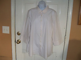 Lands' End Wrinkle-Free Broadcloth 3/4 Sleeves White Striped Shirt Size ... - $22.40