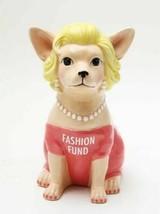 "CHIHUAHUA IN PINK FASHION FUND MONEY BANK 8""H CERAMIC FIGURINE WORLD CUTEST - $25.99"