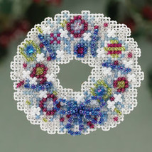 Crystal Wreath Winter Holiday 2013 Seasonal ornament pin kit cross stitch Mill H - $6.30