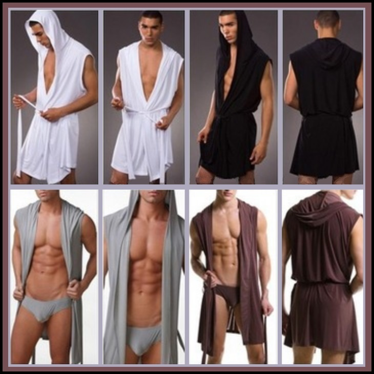 Primary image for Luxury Soft Silk Hooded Leisure Beach Bath Lounge Robe White Black Gray or Brown