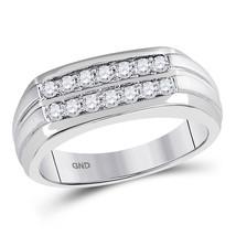 14kt White Gold Mens Round Diamond Double Row Wedding Band Ring 1/2 Cttw - $799.00
