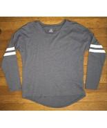 ! old navy blue gray striped long sleeve tee top shirt size medium 8 girls - $4.95