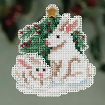 Winter Bunnies Winter Holiday 2013 Seasonal ornament pin kit cross stitch Mill H - $6.30