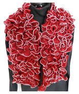 Red/Black Ruffled Stole Scarf for women - $64.95