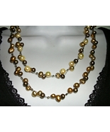 MULTI  Strand   FW PEarls cluster necklace Gold Olive  Green ARTISAN HAN... - $34.00