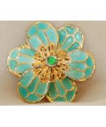VINTAGE Aqua Enamel and Goldtone Floral Brooch - $10.00