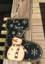 Primitive Wood 2388 Let it Snow Snowman Christmas Ornament  - $3.95