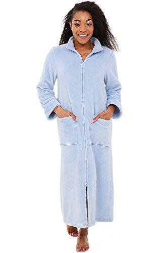 Alexander Del Rossa Women's Zip Up Fleece Robe, Warm Loose Bathrobe, Large XL Li