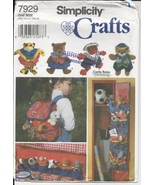 Beanie Animal Clothes Accessories Simplicity 7929 Pattern Bed Backpack C... - $3.93