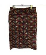 LuLaRoe Cassie Skirt Large Straight Stretch Black Red Geometric Slim Wiggle - $24.14