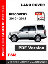 Land Rover Discovery 2010 2011 2012 Factory Service Repair Workshop Fsm Manual - $14.95