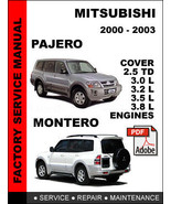 MITSUBISHI PAJERO MONTERO 2000 2001 2002 2003 FACTORY SERVICE REPAIR FSM... - $14.95
