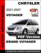 Chrysler Voyager 2001 2002 2003 2004 2005 2006 2007 Service Repair Shop Manual - $14.95