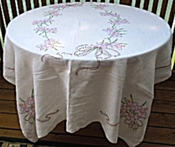 """Vintage Flax Linen Tablecloth with Floral Embroidery 50"""" x 64"""" WHITE #6188 - $14.00"""