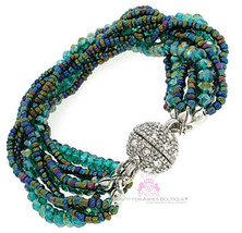 Ivy Teal Blue Green Silver Magnetic Bracelet Pave Crystals Ball Sphere A... - $10.11